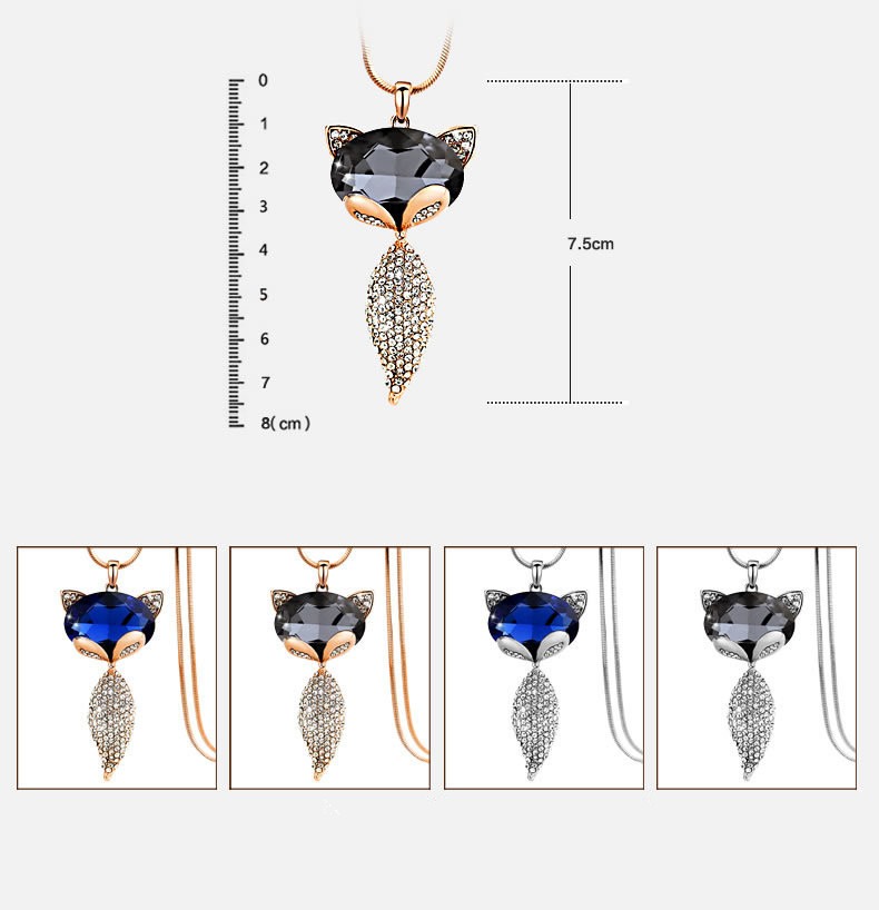 2018 Trendy Necklaces Rose gold and silver plating Crystal Jewelry Fox Necklace Pendant Vintage Long Necklace For Women Gift 2