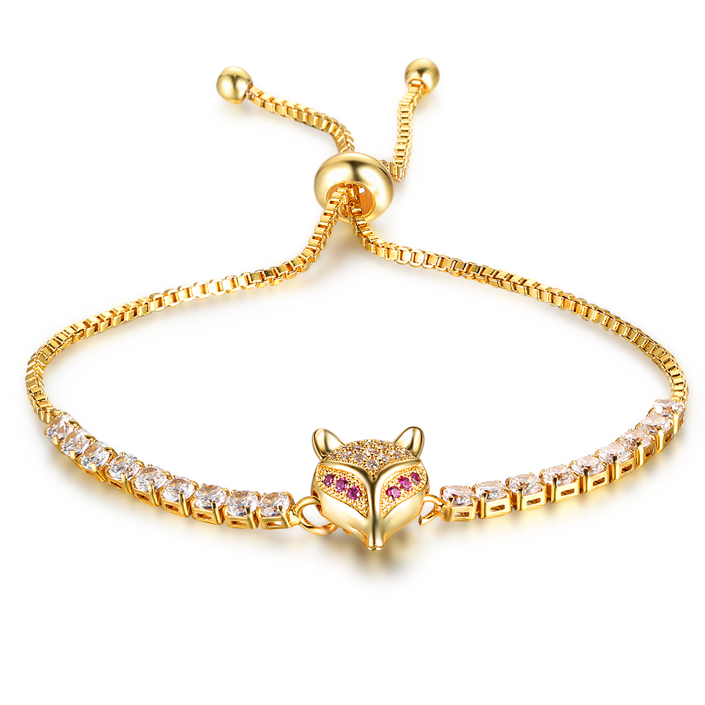 Party Jewelry Adjustable Bracelet For Women Cubic Zirconia Fox Gold Color Blacelets & Bangles Friend Gift (JewelOra BA102046) 13