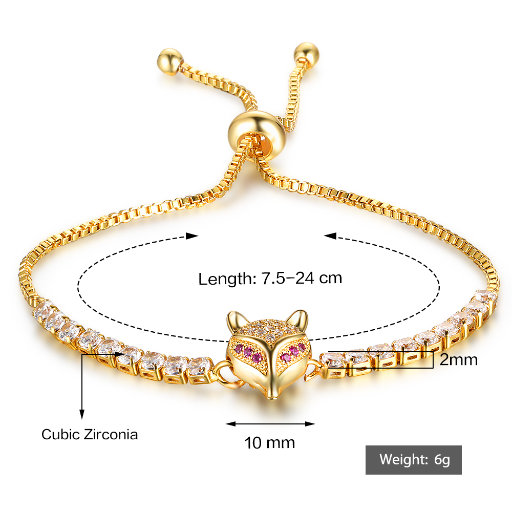 Party Jewelry Adjustable Bracelet For Women Cubic Zirconia Fox Gold Color Blacelets & Bangles Friend Gift (JewelOra BA102046) 15